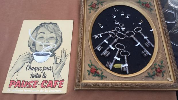 Parijs vlooienmarkt koffie affiche