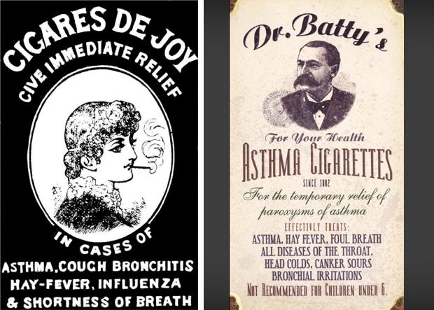 Oude rookreclames astma hooikoorts