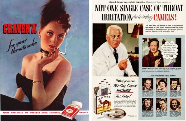 Oude rookreclames keel gezond