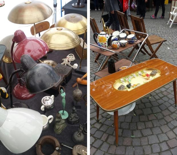 Keulen rommelmarkt tafel en lampen