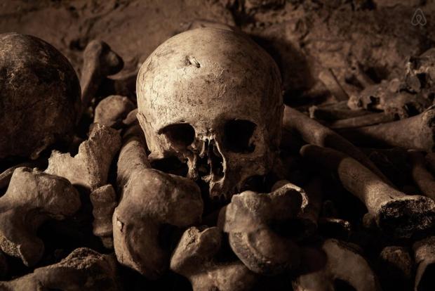 Parijse Catacomben schedel Halloween griezelig go with the vlo