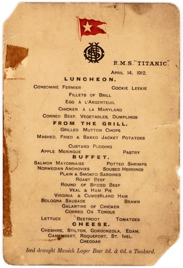 Titanic lunchmenu veiling