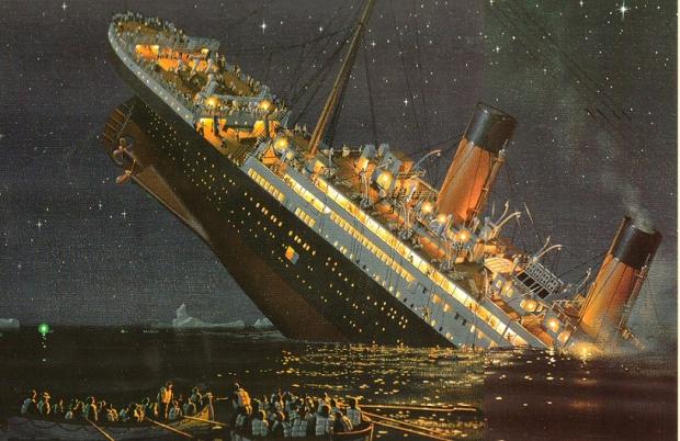 Titanic ondergang menukaart