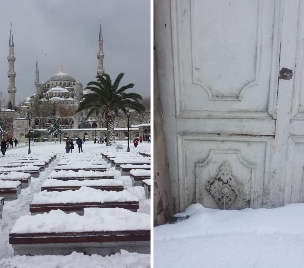 Blauwe Moskee deur sneeuw wit copyright Danny Post