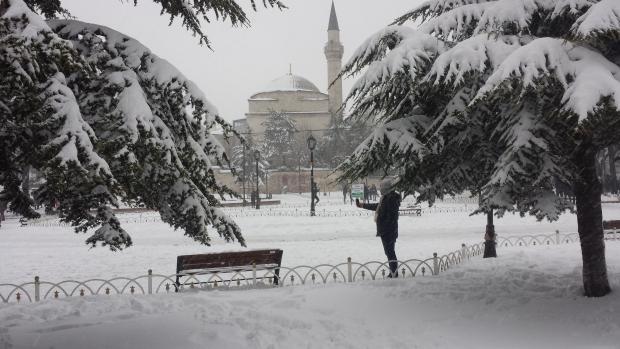 Istanbul selfie in de sneeuw