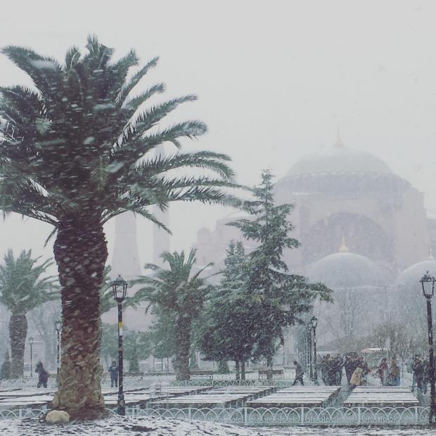 Istanbul sneeuw Aya Sofya copyright Danny Post