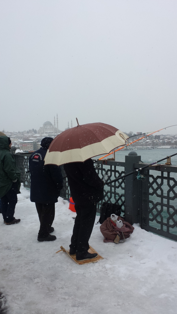 Istanbul sneeuw Galatabrug copyright Danny Post