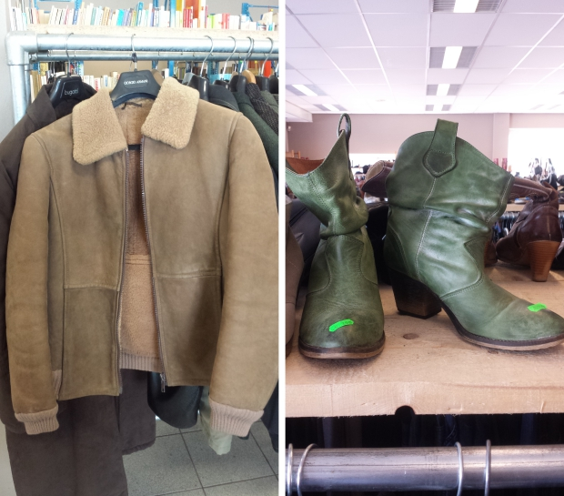 Kringloop Ede jas en laarsjes tweedehands