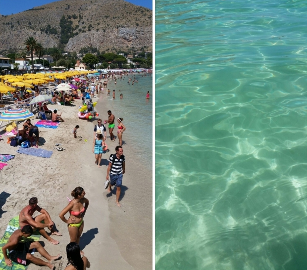 Mondello strand water Sicilie go with the vlo