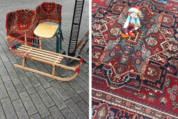Binnenrotte rommelmarkt tapijten
