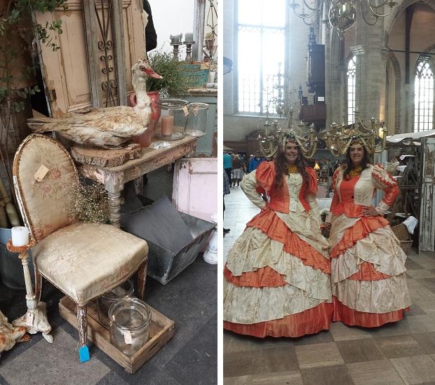 Brocante in de Laurenskerk markt antieke stoel