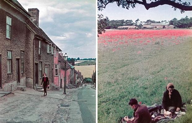 Engeland kleurenfoto platteland 1939