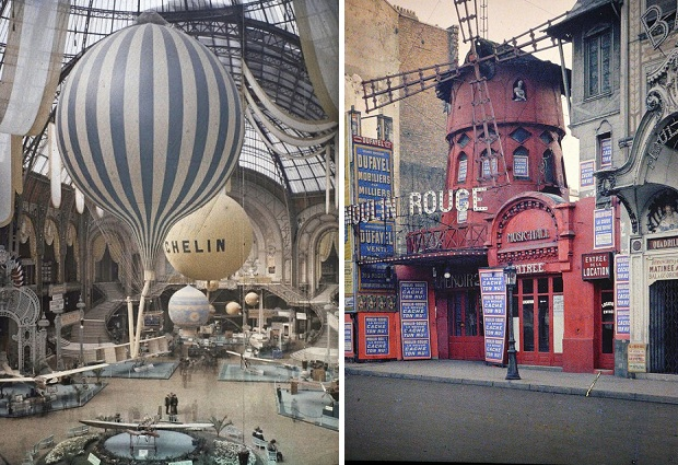 Parijs kleurenfoto Moulin Rouge 1914