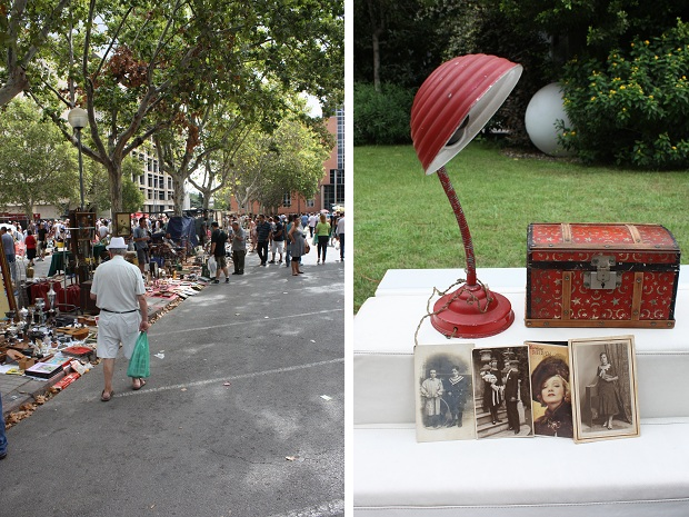 Valencia vlooienmarkt rode lamp oude foto's