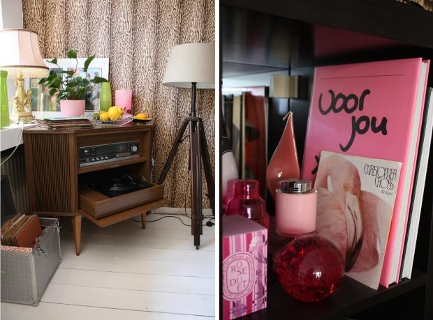 Binnenkijker Marjo de Bruin roze en platenhoekje