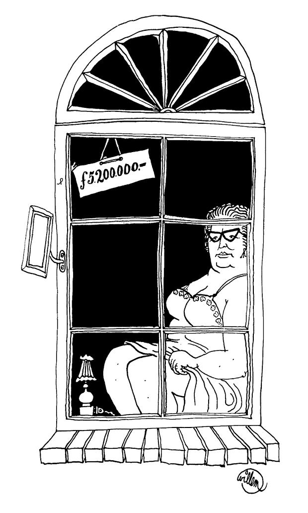 Koning Juliana achter het raam spotprent 1966