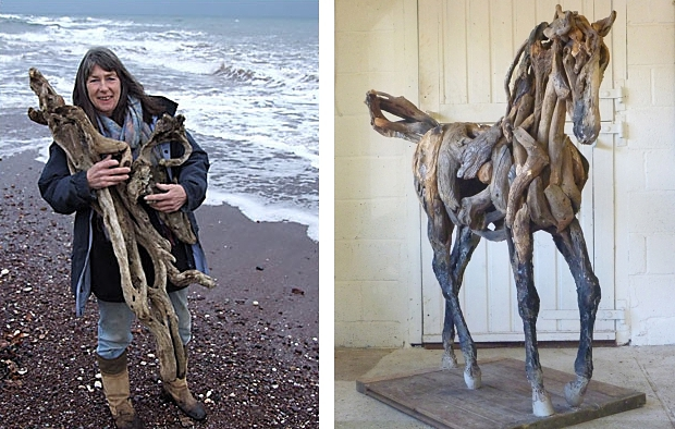 Heather Jansch paardje en zee