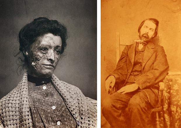 Victoriaanse dodenfotografie vrouw en man