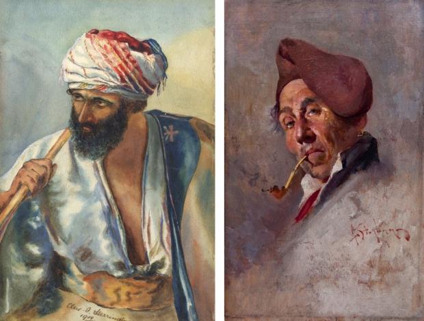Schilderij man met pijp en oosterse man