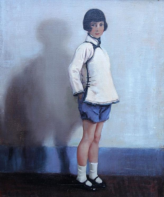 Schilderij meisje blauw