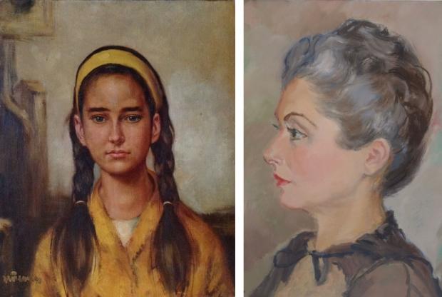 Schilderij van meisje tot oma