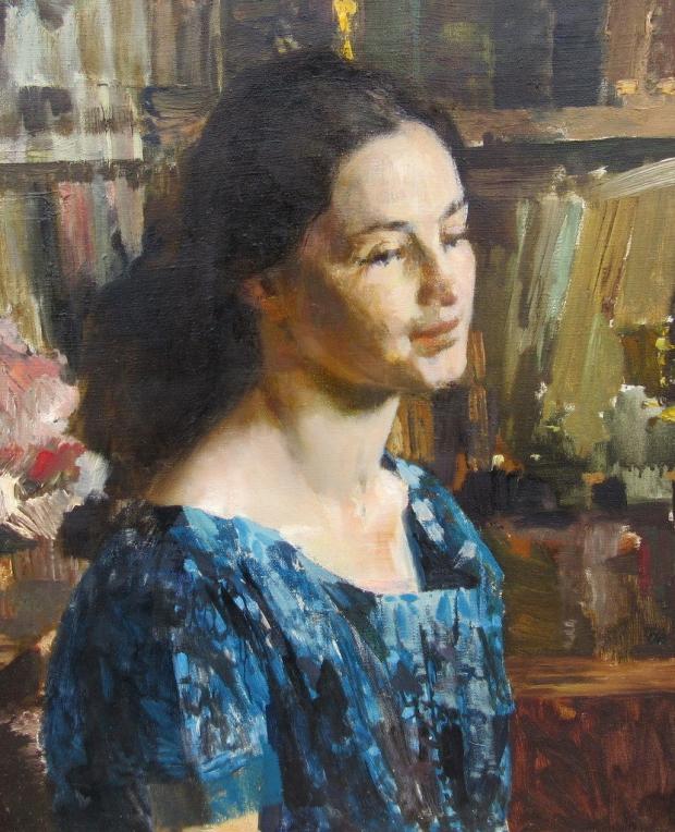 Schilderij vrouw blauwe blouse