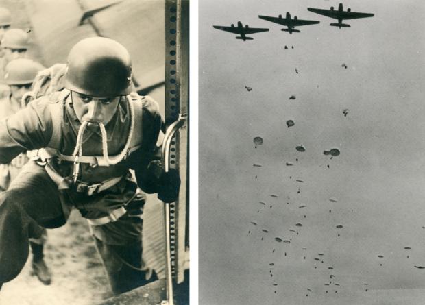 Parachute De Aanval FallschirmjÑger stappen in boven Rotterdam