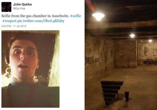 Auschwitz selfie gaskamer