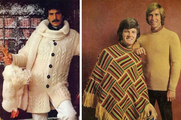 Seventies mannenkleding trui en poncho