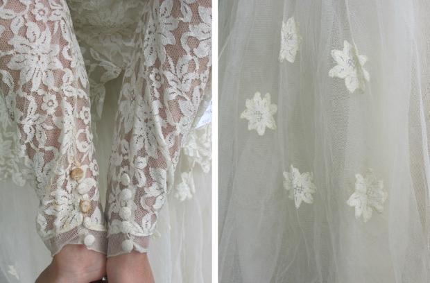 Vintage trouwjurk details