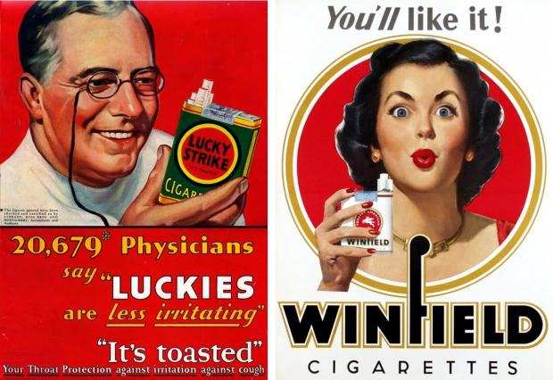 Oude rookreclames gezondheid