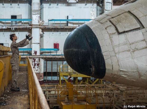 Russische ruimteveren verlaten loods