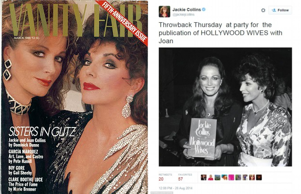 Jackie en Joan Collins Vanity Fair