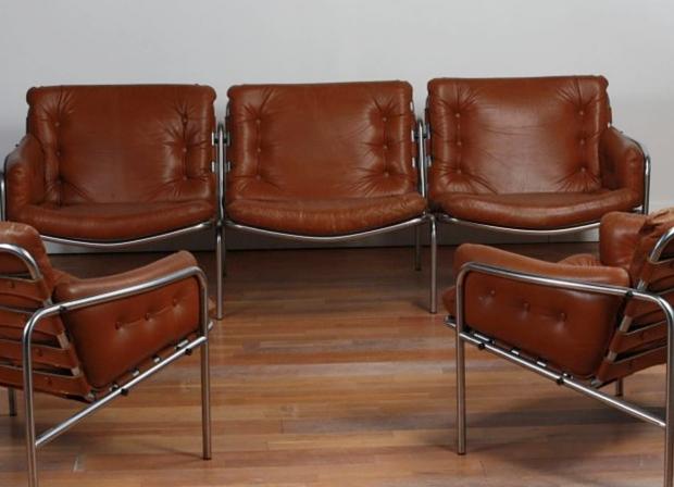 Bankstel en fauteuils vintage