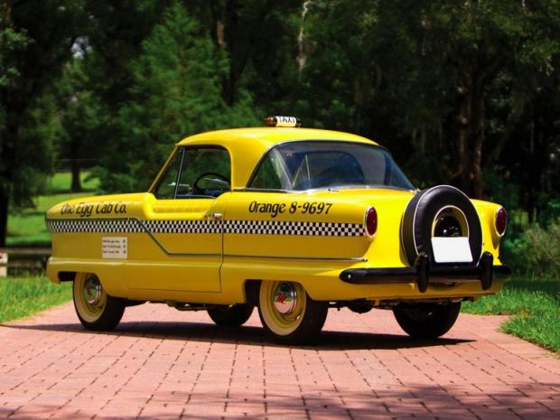 Gele taxi oldtimer veiling achterkant