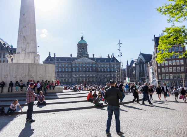 Amsterdam de Dam 2015 zomer go with the vlo schilderij