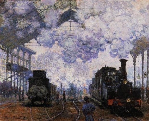 Claude Monet schilderij aankomst van een trein Saint-Lazare