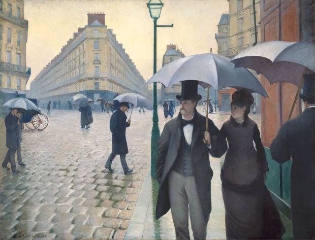 Gustave Caillebotte Parijs in de regen schilderij