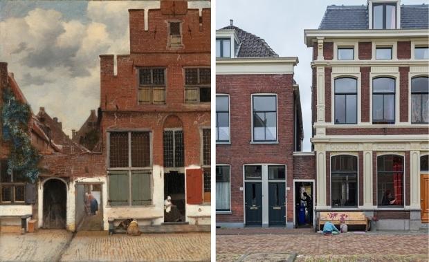 Johannes Vermeer Het straatje toen en nu