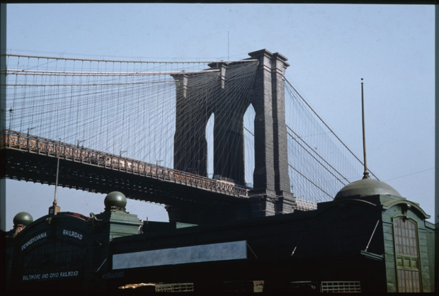 New York Brooklyn Bridge jaren veertig