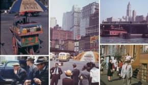 New York door een gekleurde forties bril