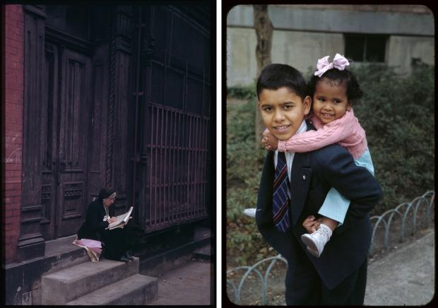New York jaren veertig oude vrouw en kinderen