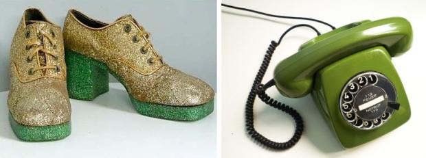 Seventies telefoon en platformschoenen