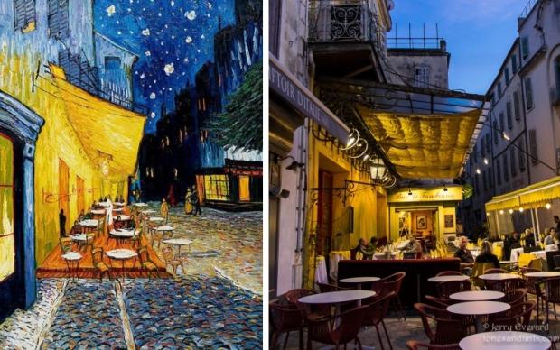 Van Gogh terras avond schilderij