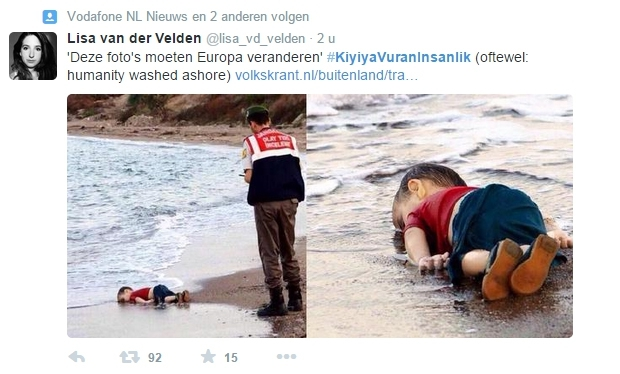 Vluchtelingencrisis jongetje aangespoeld Turkije