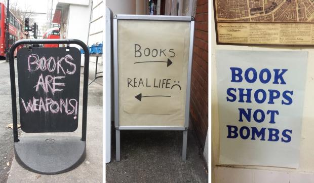 Londen boekhandels slogans boeken