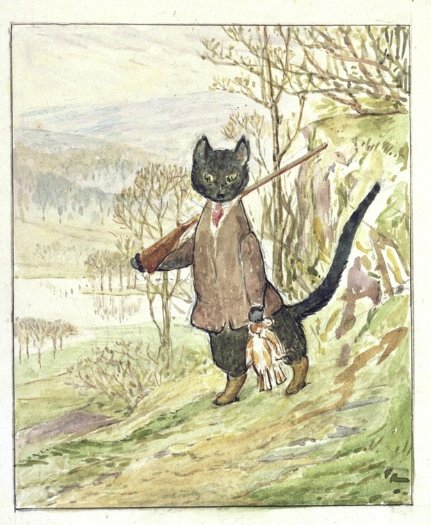 Beatrix Potter The Tale of Kitty-in-Boots originele tekening boek go with the vlo