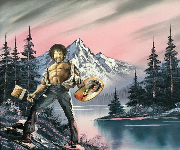 Go-with-the-Vlo-Bob-Ross-Dave-Pollot-art-thiftstore-kringloopwinkel