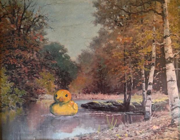 Go-with-the-Vlo-Dave-Pollot-Rubber-Duck-badeendje-painting-schilderij-thriftart-