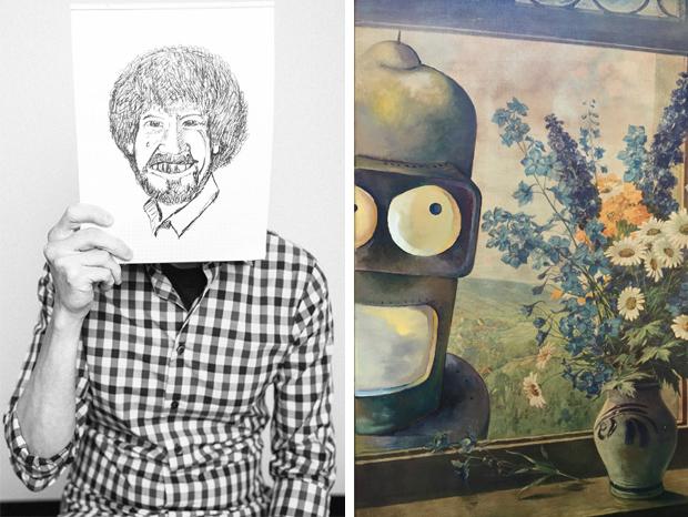 Go-with-the-Vlo-Futurama-Bob-Ross-Dave-pollot-portrait-kunst-artwork-kringloopwinkel